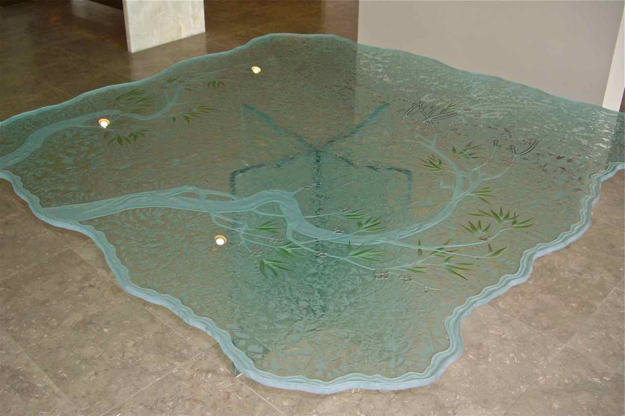 Table Top Glass Etchin Glass Dining Table Top