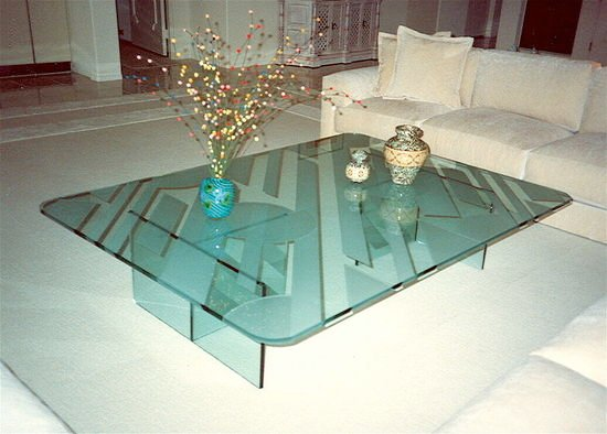 Art Deco Glass Cocktail Table Top