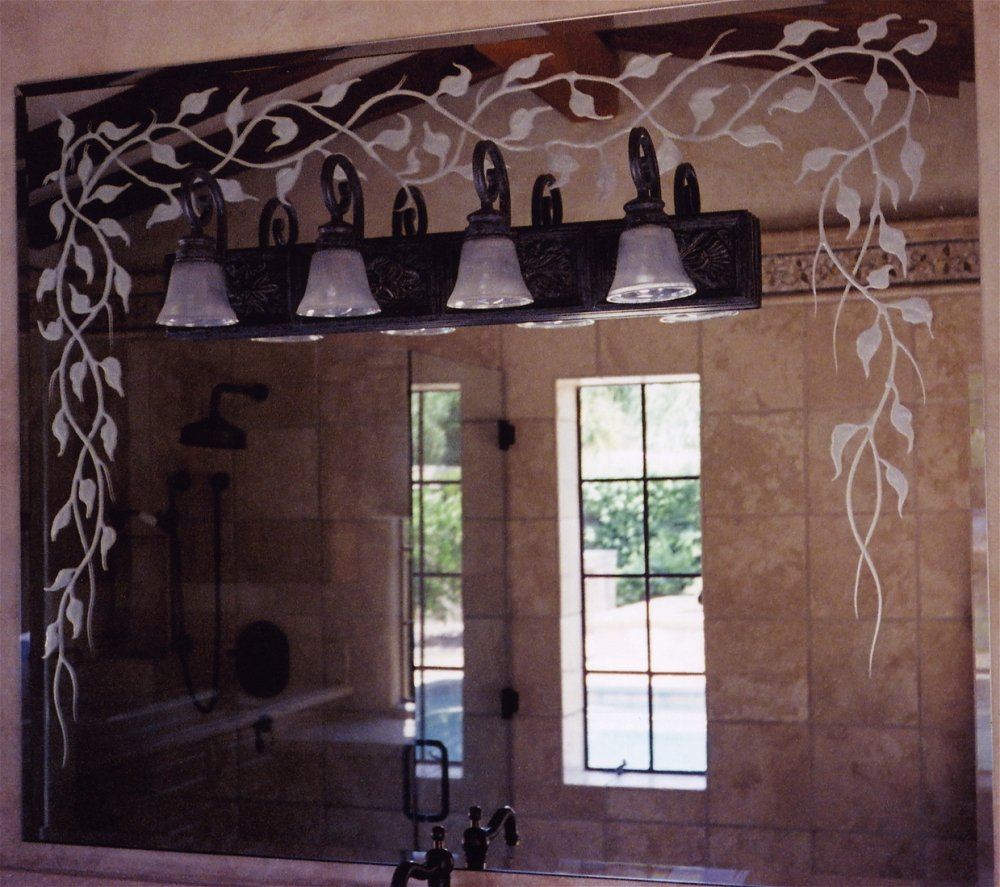 Etched glass mirrors sans soucie art glass for Mirror glass design
