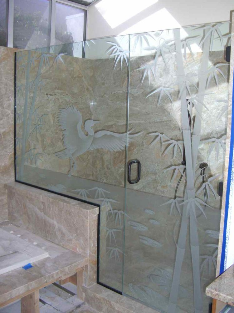 Decorative Floral Glass Shower Door Decorative Glass Shower Etched And Carved With Egret Bamboo And Lilly