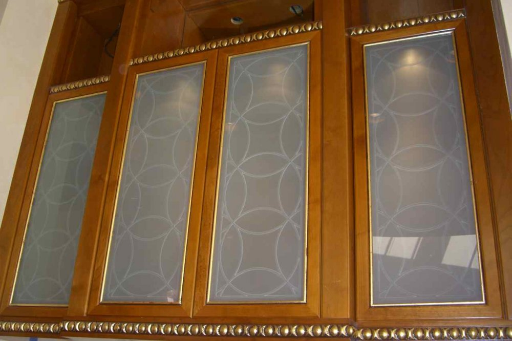 etched decorative glass cabinet inserts with a gorgeous contemporary