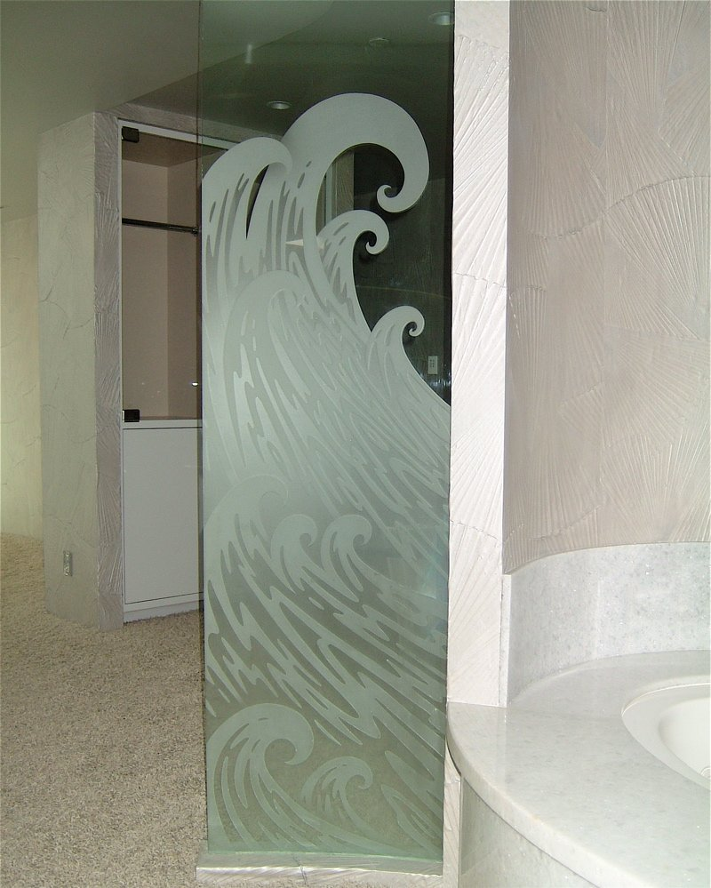 Decorative Floral Glass Shower Door Decorative Glass Bath Partition Etched And Carved In Ocean Wave