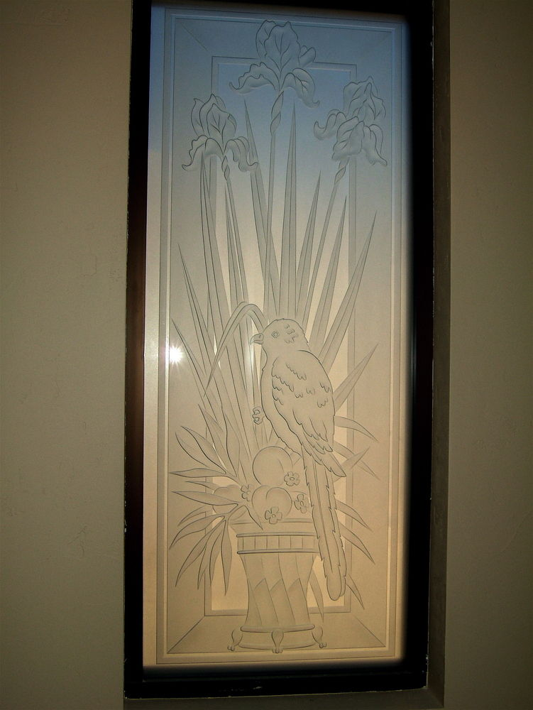 Etched Bird Glass