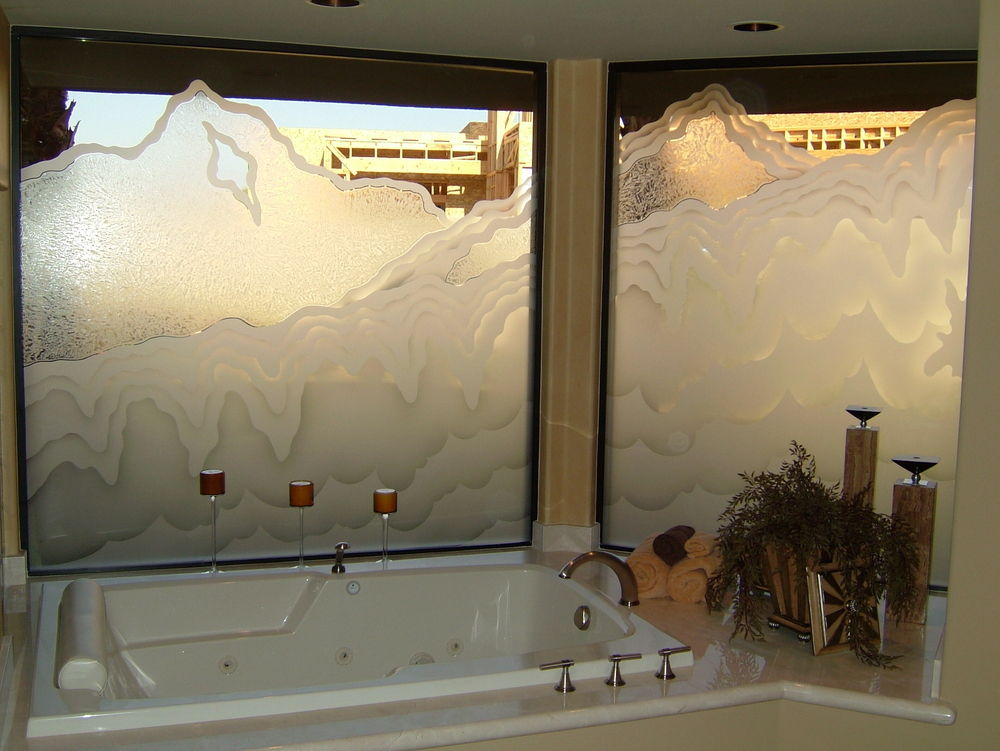 decorative glass window etched for privacy for tub shower area