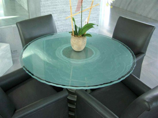 "Modern Glass Table ""Onde Lineari"" Design"