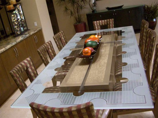 Contermporary Glass Table, Dining Room Table in Geometric Etched Carved Border