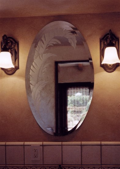 Beveled mirror sans soucie art glass for How to frame an oval bathroom mirror