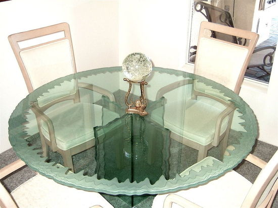 Round Glass Table Custom Carved Edge