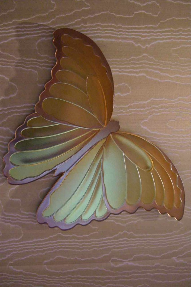 Butterfly dimensionally carved and hand painted glass wall art
