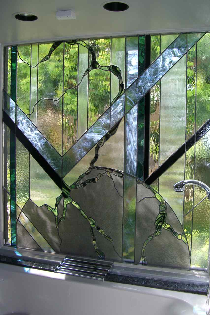 Stained glass window sans soucie art glass for Stained glass bathroom window designs