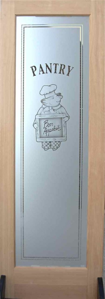 Etched Glass Pantry Doors With Chef Designs