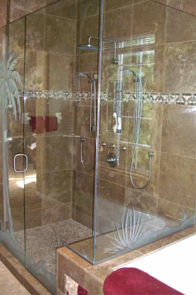 Etched Glass Shower Door Desert Palm Tree Scene Sans