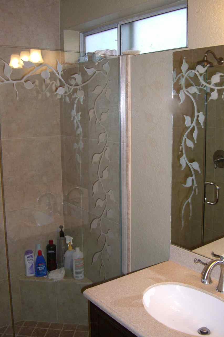 Etched Glass Bathroom Mirror Sans Soucie Art Glass