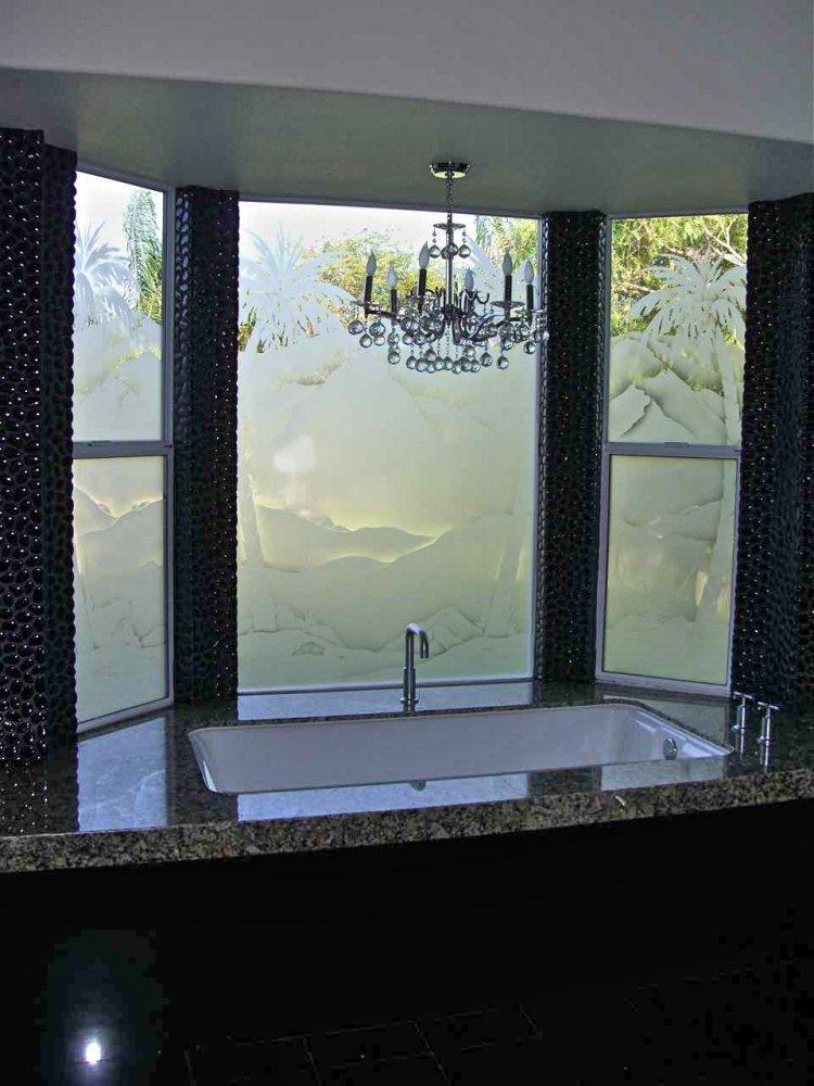 Etched Window Glass Sans Soucie Art Glass