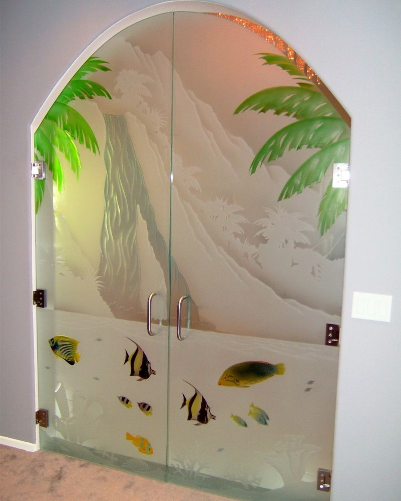 Etched hand painted glass entry door sans soucie art
