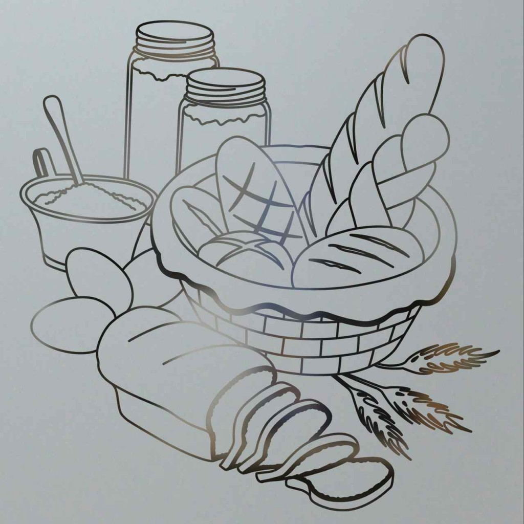 Bread design pantry door sans soucie art glass for Glass etching designs for doors
