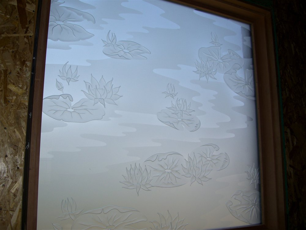 Bathroom windows with etched glass designs for privacy for Window etching