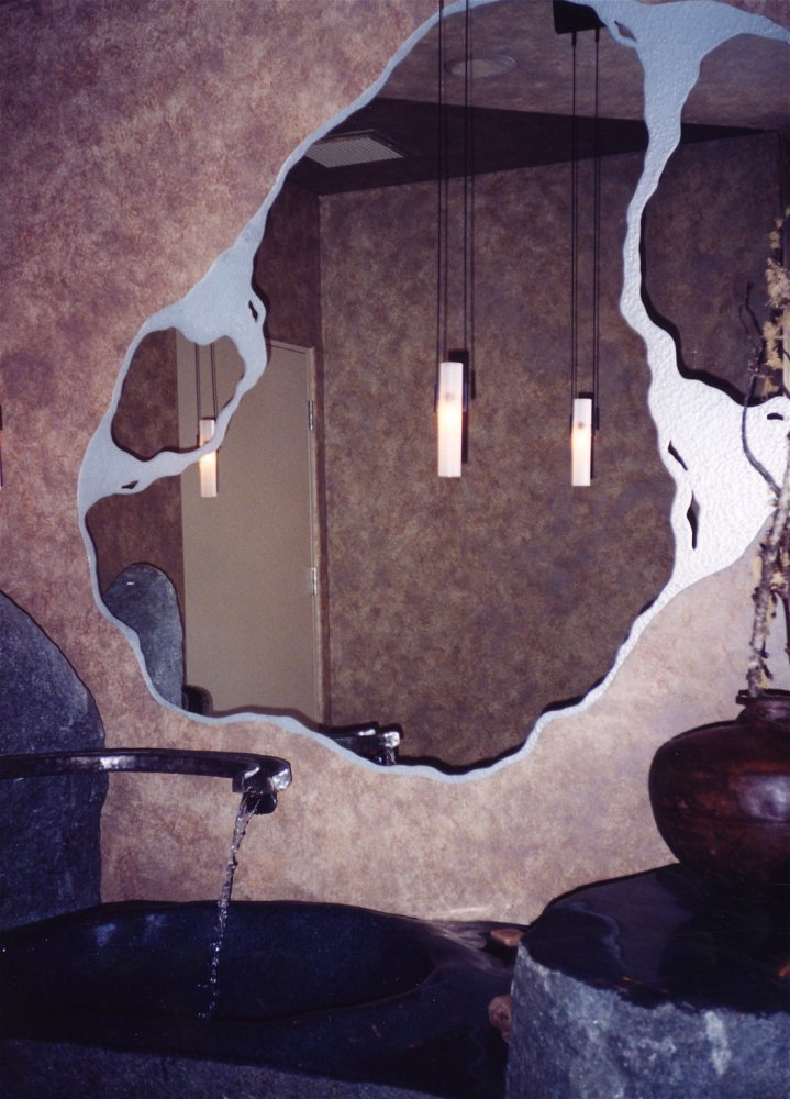 Decorative mirrors with custom etched carved designs for Mirror glass design
