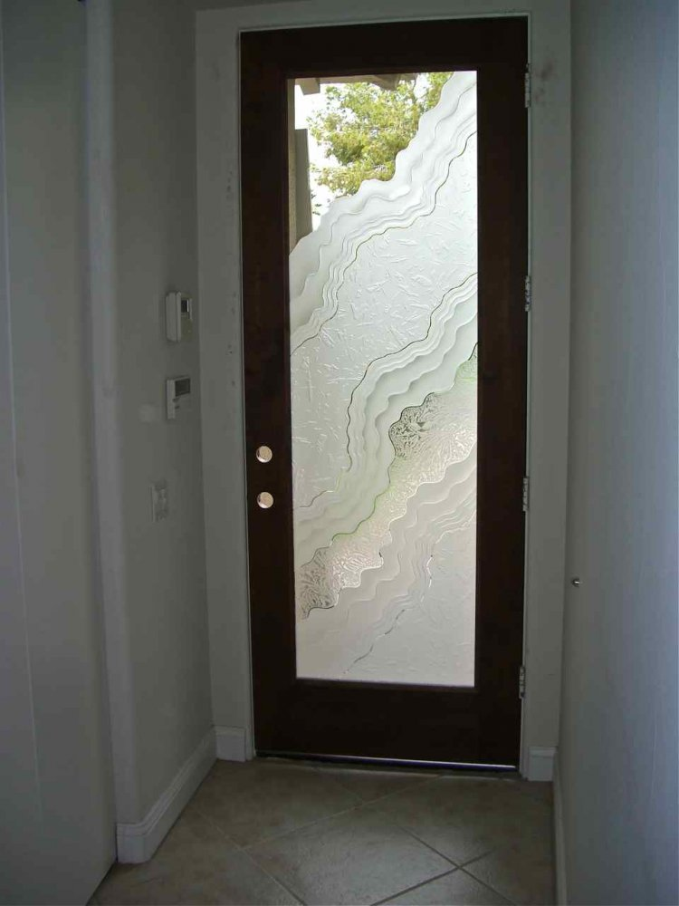 Etched door glass sans soucie art glass for Exterior entry doors with glass