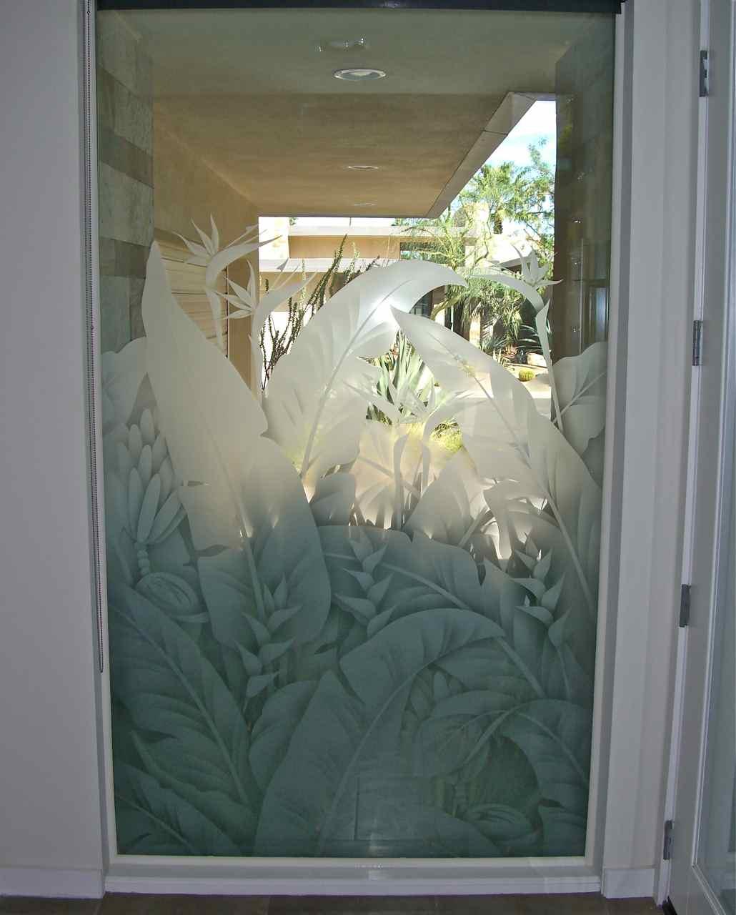 Etched Glass Window Sans Soucie Art Glass