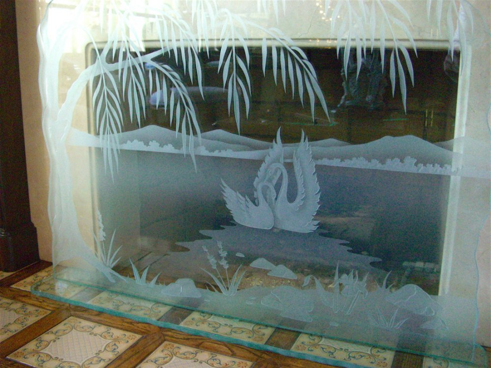Swan Song Glass Fireplace Screen