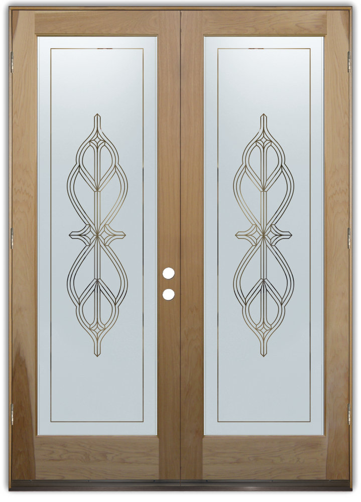 Double entry doors sans soucie art glass for Exterior kitchen doors with glass
