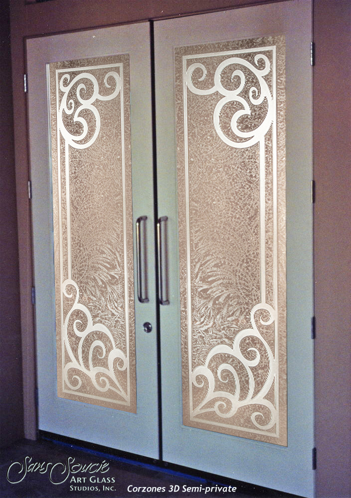 Double Entry Doors With Custom Frosted Glass Sans Soucie Art Glass