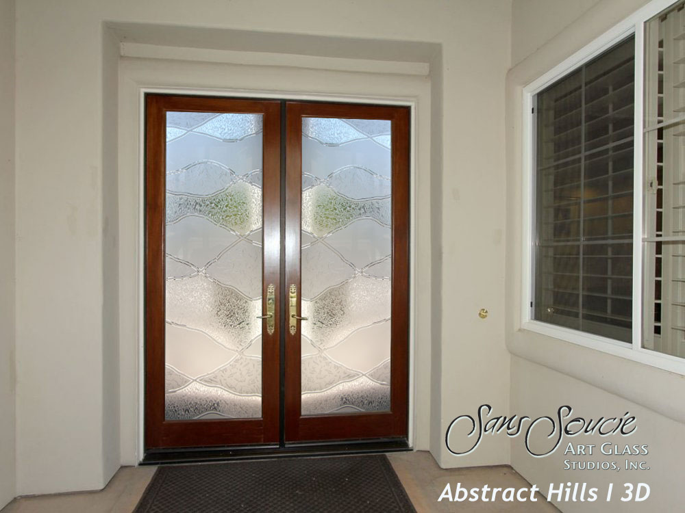 Double entry doors sans soucie art glass for Front doors with glass panels