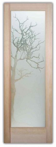 interior glass door winter tree 3D