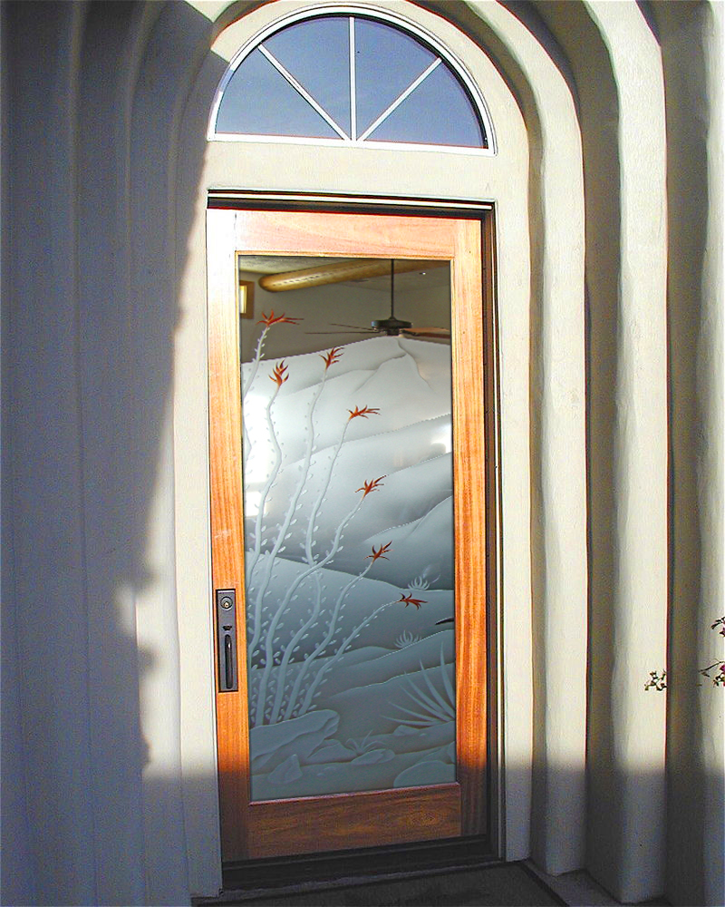 Etched glass door sans soucie art glass for Exterior entry doors with glass