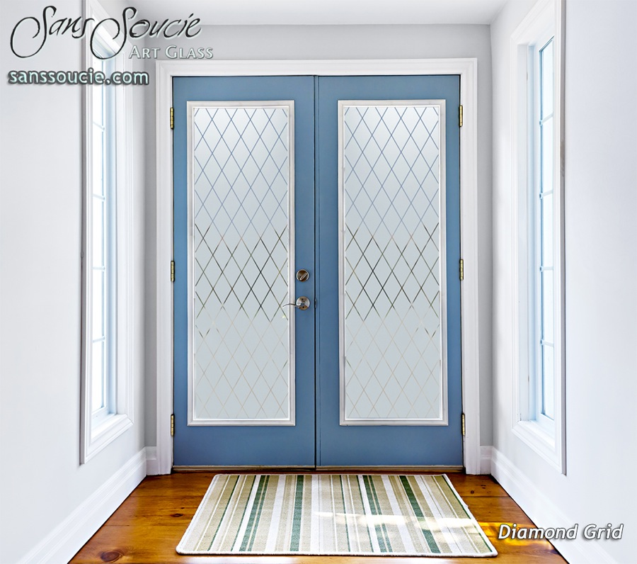 Diamond grid etched glass front doors modern design for Etched glass entry doors