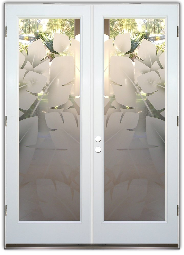 Decorative Floral Glass Shower Door Glass Front Doors Etched Glass Tropical Decor Banana Leaves Foliage