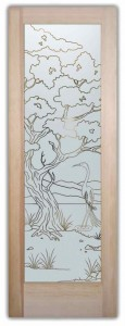 Bonsai Egret Front Doors with Glass Etching Asian Design