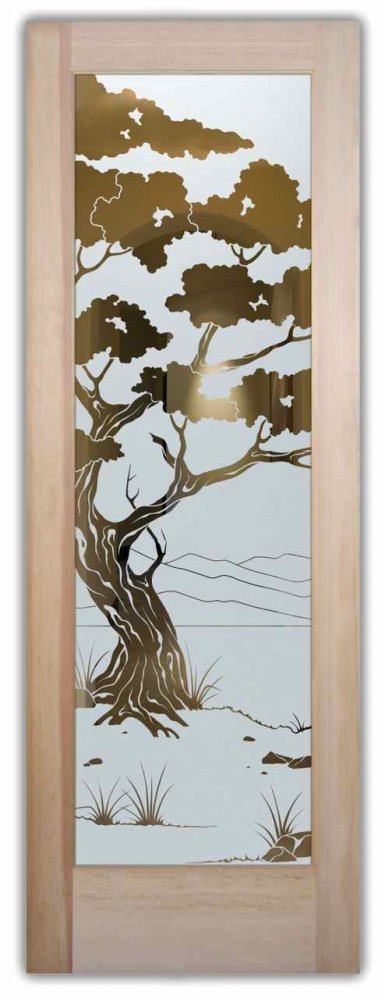 Bonsai etched glass front doors asian design for Glass etching designs for doors