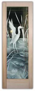 Cranes II 2D Etched Glass Doors Asian Decor