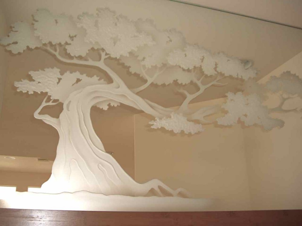 Bonsai tree frosted custom mirrors sans soucie for Mirror glass design
