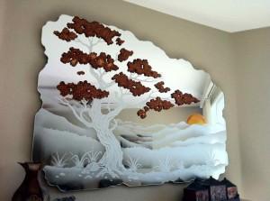 Golden Brown Bonsai Decorative Mirrors