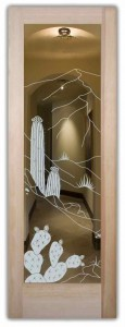 Dsrt Cactus Interior Doors with Glass Etching Western Style