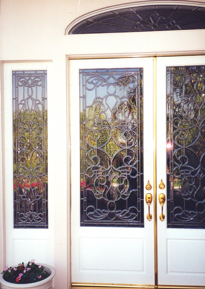 Beveled clusters leaded door glass inserts sans soucie for Beveled glass doors
