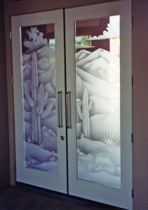 Desert Saguaros Door Glass Inserts