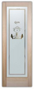 Dumb Bell Recreation Decor Etched Glass Front Doors