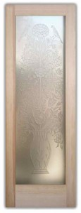 Floral Perch 3D Private Etched Glass Doors French Style