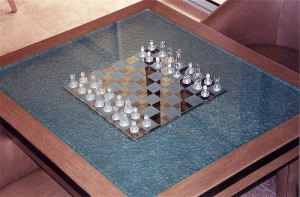 Chess Reflection Glass Coffee Tables