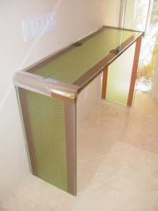Streamlined Waves Glass Sofa Back Table