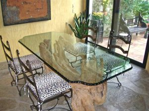 Chipped & Polished Edge Glass Dining Tables