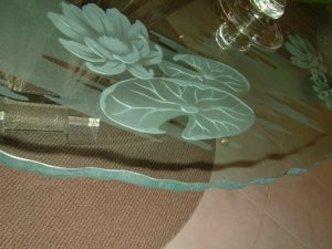 Lilly Pad & Lotus Glass Dining Tables