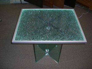 Shattered Glass Edge Lit Glass Dining Tables