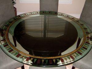 Tri-square Border Glass Dining Tables