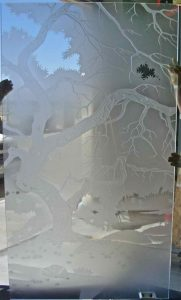 Tree in the Mdows Glass Window Etched Glass Rustic Style