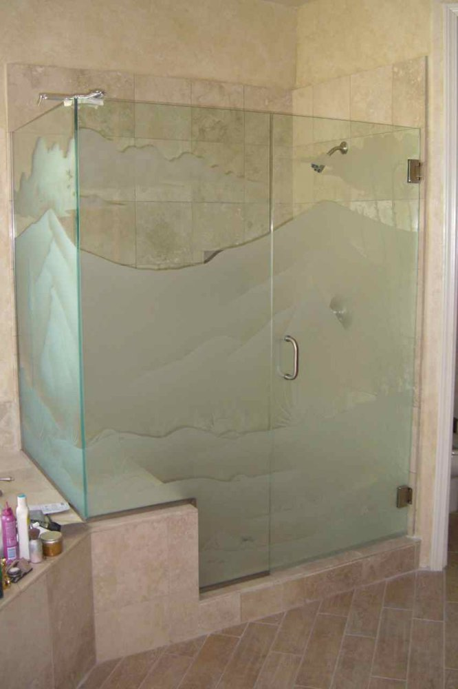 Decorative Floral Glass Shower Door Glass Shower Doors Etched Glass Western Decor Mountains Landscape